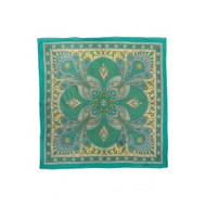 "Scarf, 39x50"" Cotton Green Tan Paisley FREE SHIPPING"