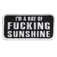"""Patch, I'm A Ray Of Fucking Sunshine 4""""x2"""" Iron In Sew FREE SHIPPING"""