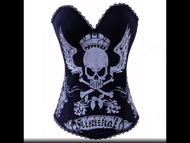 Corset, Skull Wing Crown Black Silver