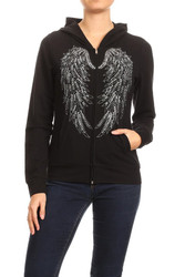 Jacket, Hoodie Angel Wing Studded, Small to 3x