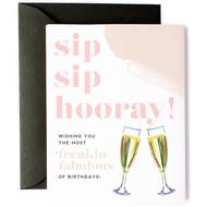 Card, Birthday Sip Sip Hooray Drink Wine Liquor FREE SHIPPING