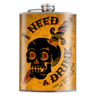 Flask, Skull I Need A Drink