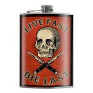 Flask, Skull Live Fast Die Fast