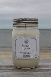 Candle, Coconut Soy 16oz, 80 Hour. Buttery Rum etc.