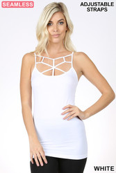 Cami, Tank Cage Front White Small to XL