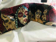 Bandana, Lady Day Of Dead Skull Roses Burgundy FREE SHIPPING