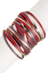 Bracelet, Leather Wine Multi Strand