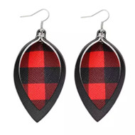Earrings, Buffalo Plaid Red & Black, 2part