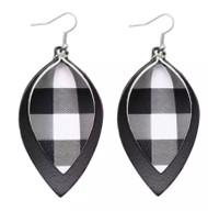 Earrings, Buffalo Plaid White Black 2part