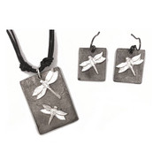 Necklace, Dragonfly Earring Pewter Handmade Set
