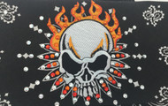 Bandana, Skull with orange flames on a black bandana, Swarovski crystals, Go Brazen has a wide variety of  rhinestone bandanas.  Shop on line at Go Brazen or swing on by the store in Red Wing, Minnesota