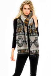 Scarf,  Multi Color Black Tan Oversized