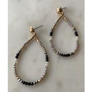 Earrings, Beaded Taupe Black Gold