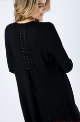 Cardigan, Black Lace Up Back