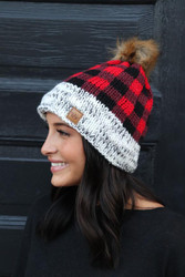 Beanie, Buffalo Plaid Pom
