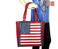 Purse, American Flag Conceal Carry Gun Red Tote