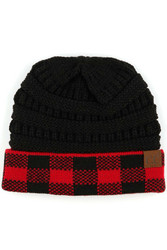Beanie, Buffalo Plaid Black CC Brand