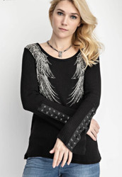 Top, Angel Wing Lace Up Sleeves