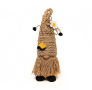 Gnome, Bee Humble Bee W/ Antenna Ears Jute Hat Wood Nose