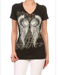 Top, Angel Wing Braiding Short Sleeve