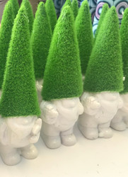 """Gnome, Mossy Green Hat Resin 4.75"""""""