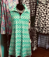 Dress, Green White Zipper Free Shipping