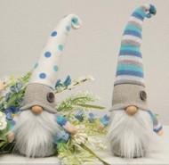 Gnome, Blue Polka Dot and Stripe Blue Gnome Pair