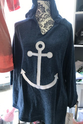 Hoodie, Chenille Anchor Navy