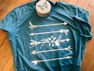T-Shirt, Arrows Dusty Teal