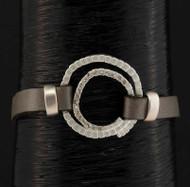 Bracelet, Magnetic Closure Grey Leather Rhinestones
