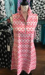Dress, Sleeveless 1/4 Zip Coral Swirl FREE SHIPPING