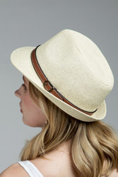 Hat, Fedora Natural Faux Leather Strap