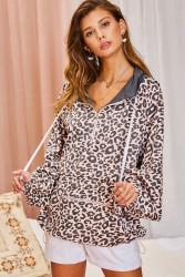 Hoodie, Leopard Pink Adjustable Hem Zip Pocket Zip Neck Hoodie