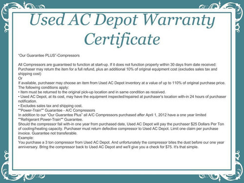 Used AC Depot Compressor Warranty