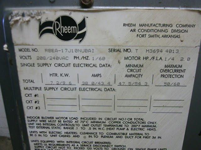 RHEEM Used AC Air Handler RBEA-17-JIONUVA-I