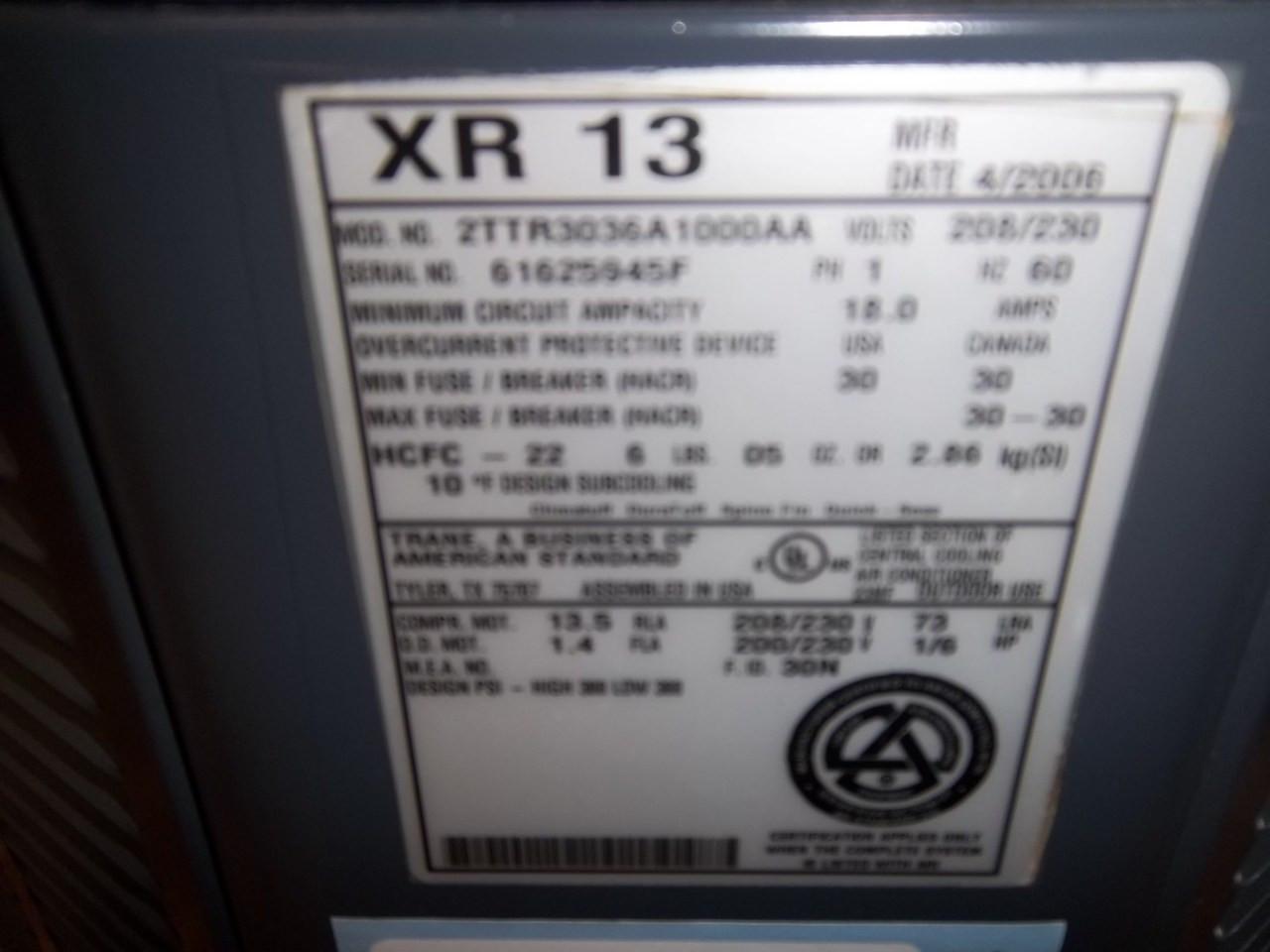 TRANE Used AC Condenser 2TTR3036A1000AA 2H