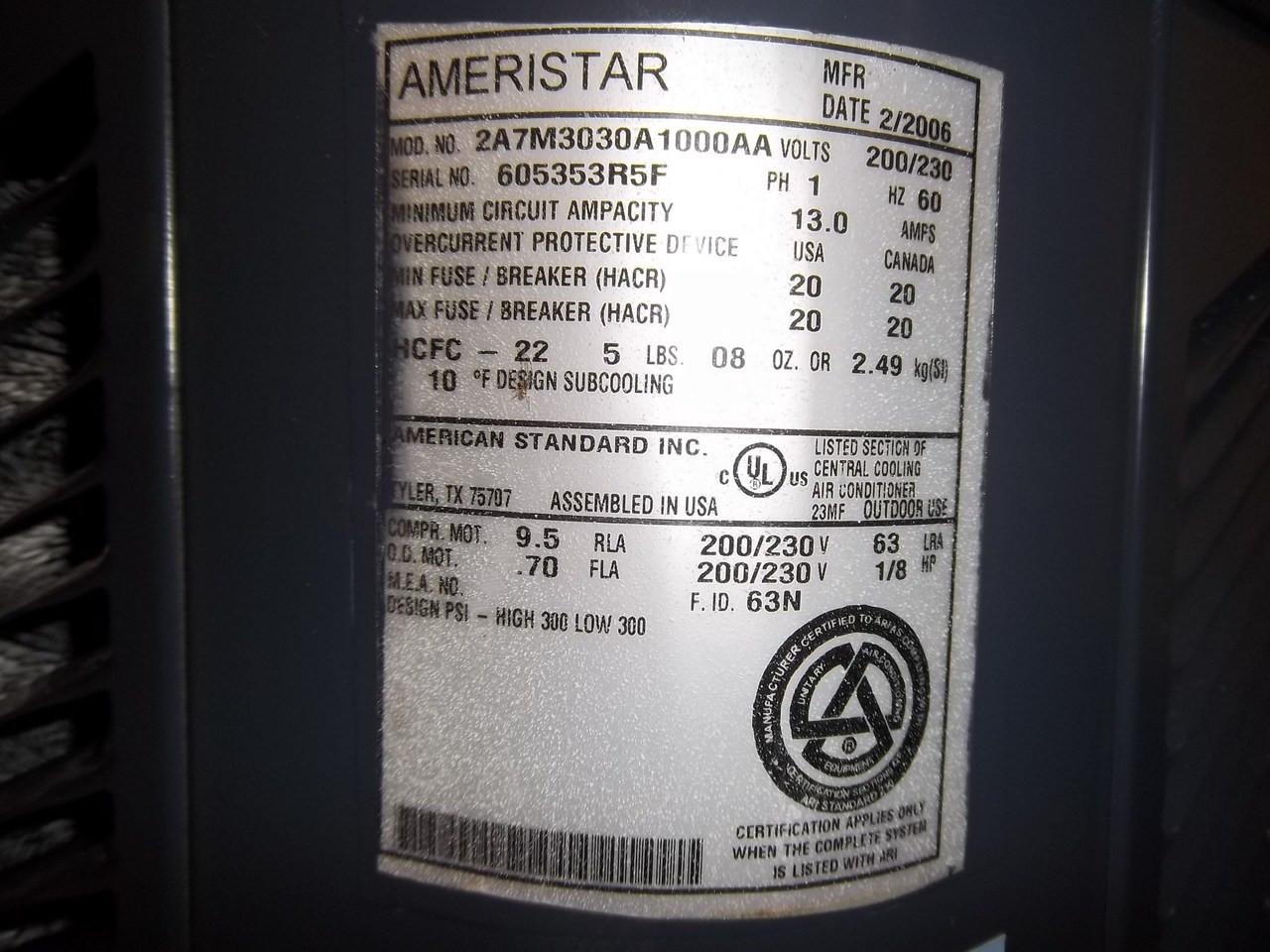 AMERISTAR Used AC Condenser 2A7M3030A1000AA 2C