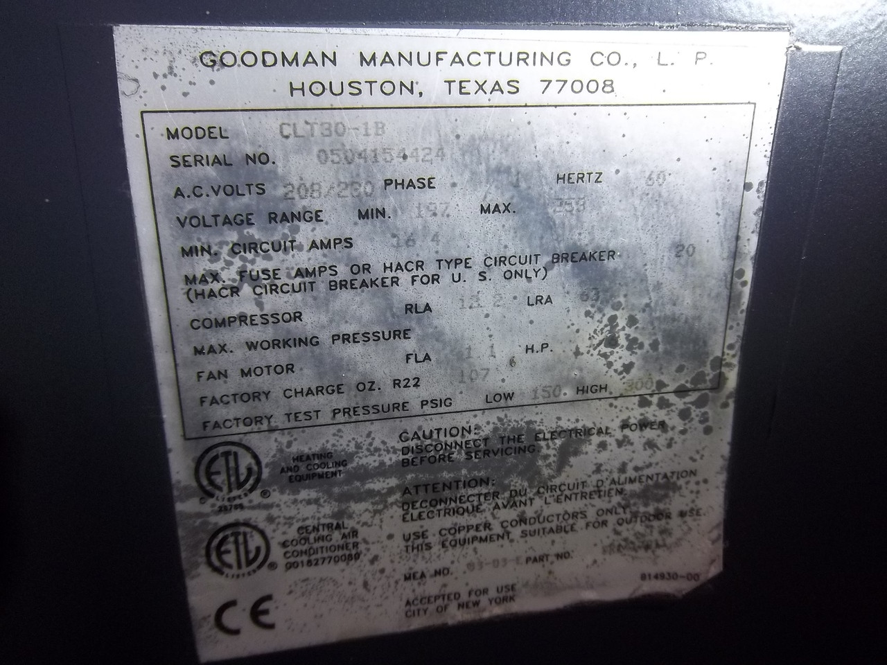 GOODMAN Used Central Air Conditioner Condenser CLT30-1B ACC-7367