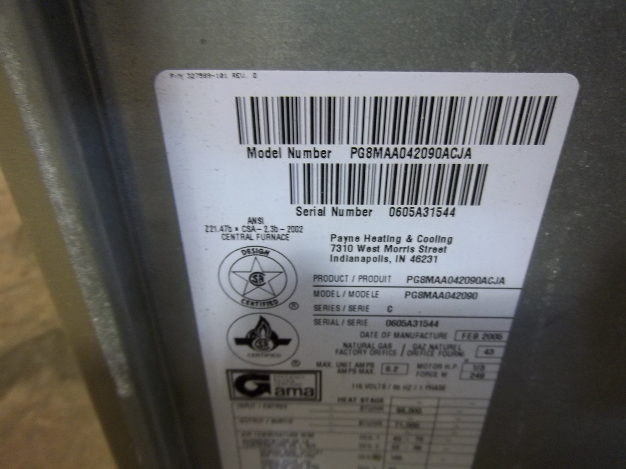 Used Ac Depot Refurbished Certified Furnace Payne Pg8maa042090 Acc 7779