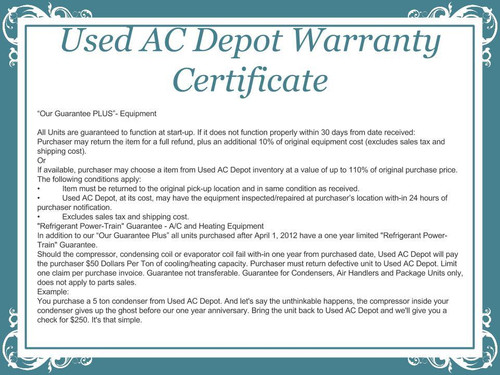 Used AC Depot Used Equipment Warranty