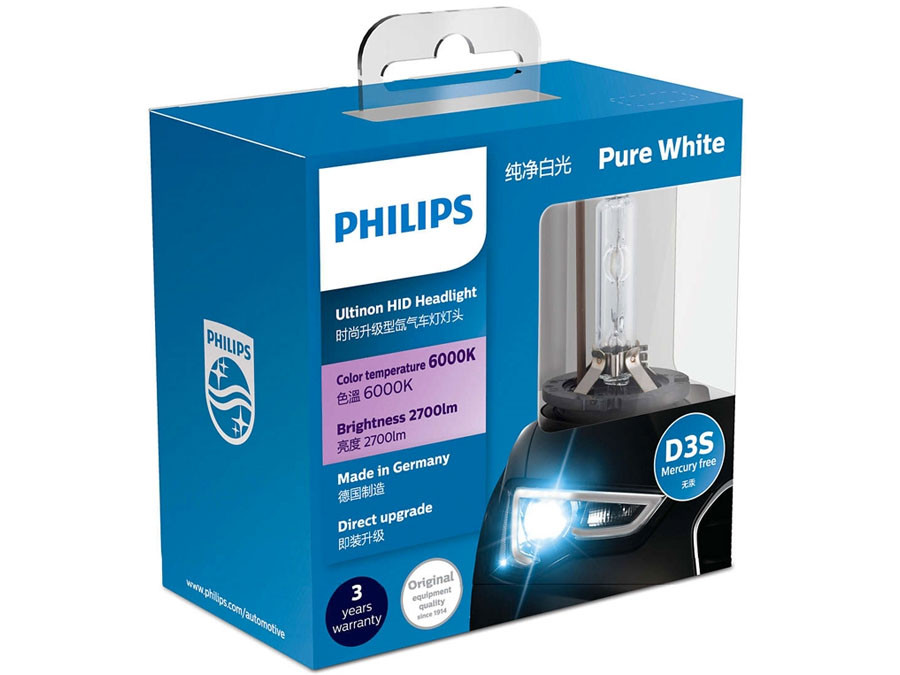 Dual package of PHILIPS Ultinon HID Bulbs 6000K 42403WXX2 D3S
