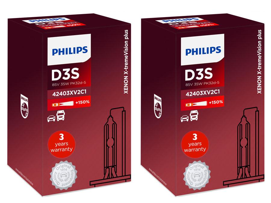 1c724110d57 D3S: Philips X-treme Vision +150% HID Xenon headlight bulbs 42403XV2C1  (Pack of 2)