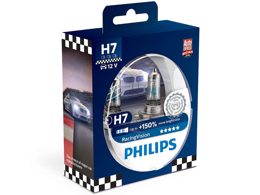 Dual package of Philips Racing Vision halogen bulbs 12972RVS2 H7