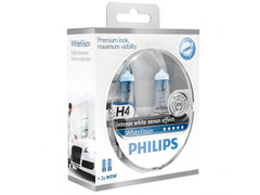 Dual package of Philips White Vision halogen bulbs 12342WHVSM H4/9003/HB2
