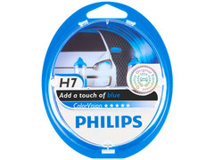 Dual package of Philips Blue Color Vision halogen bulbs 3350K 12972CVPBS2 H7