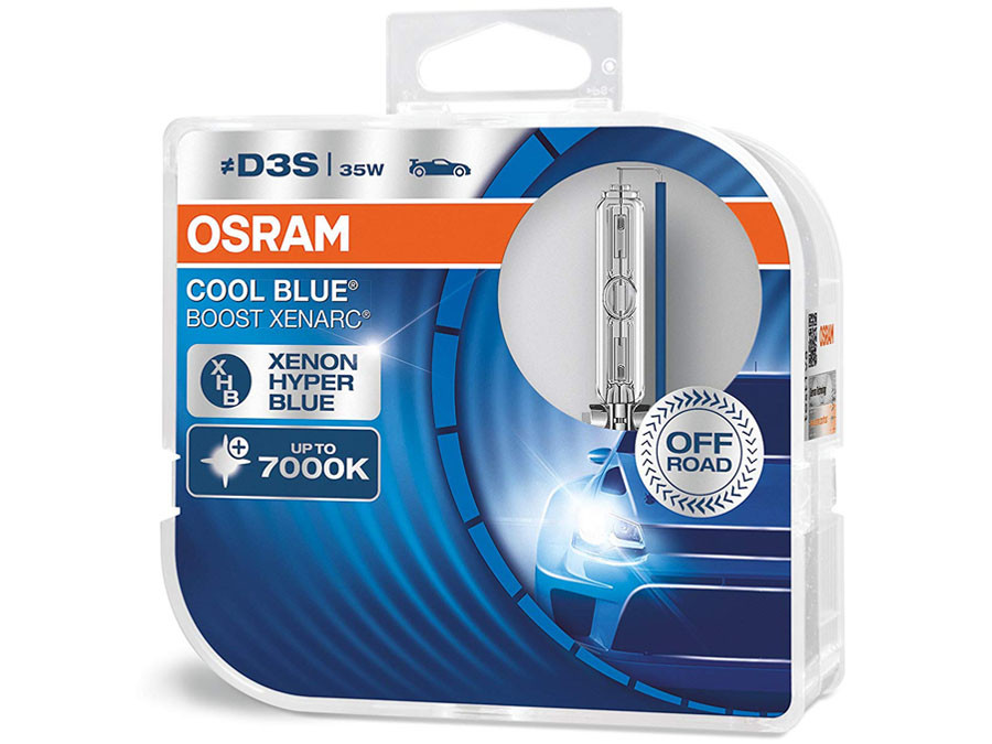Dual package of Osram Cool Blue Boost HID bulbs 7000K 66340CBB-HCB D3S