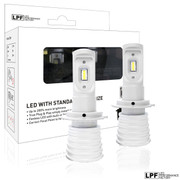 Enclosed package with two bulbs of LPF 6000K Fanless Halogen size LED Lights w/Smartchip H7