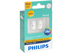 Dual package of Philips Ultinon LED Amber Interior/Exterior bulbs 194ULAX2 194