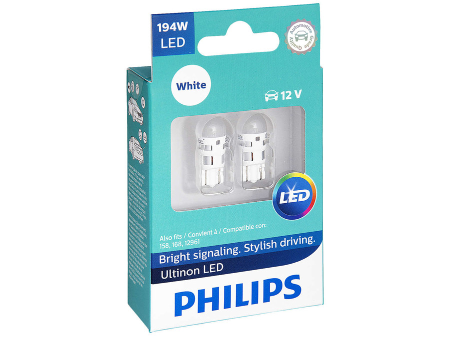 Dual package of Philips Ultinon LED White Interior/Exterior bulbs 194ULWX2 194