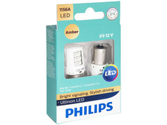 Enclosed package of Philips Ultinon LED Amber Interior/Exterior bulbs 1156
